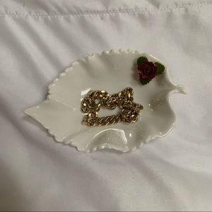 Aynsley China antique leaf and rose trinket dish